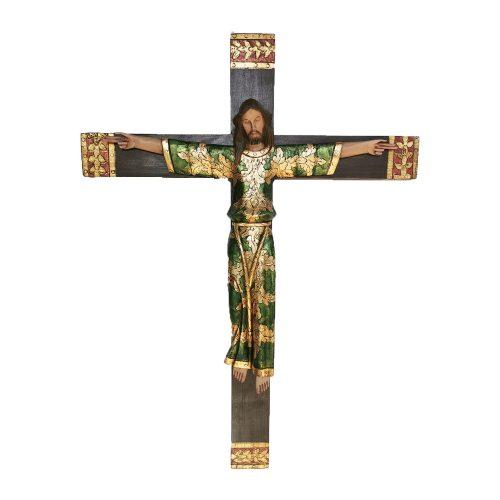 Cristo bizantino tallado a mano, con hoja de Oro