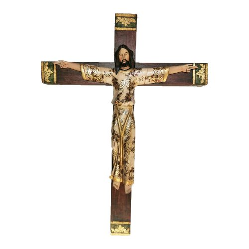 Cristo bizantino tallado en madera, detalles con hoja de Oro