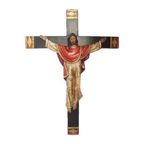 Cristo bizantino tallado en madera, decorado con hoja de Oro