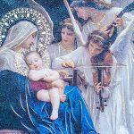 Virgen Maria y Ángeles cantan al niño Jesús en madera Rustica